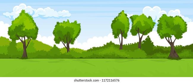 Cartoon illustration of summer landscape with trees