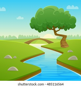 Cartoon illustration of summer rural landscape with bridge over the river and tree.