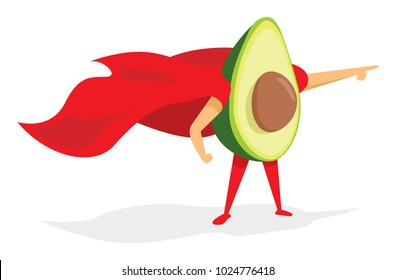 Cartoon illustration of super avocado hero saving the day