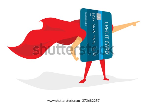 Cartoon illustration of super credit card hero pointing with cape