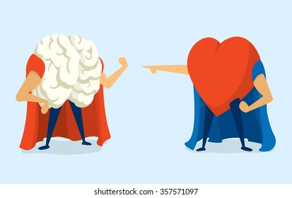 Cartoon illustration of super hero battle between brain and heart