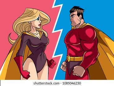 Cartoon illustration of a superhero facing superheroine.