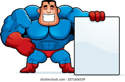 A cartoon illustration of a superhero with a sign.