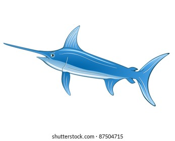 Cartoon illustration of a swordfish.