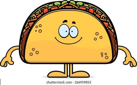 A cartoon illustration of a taco looking happy.