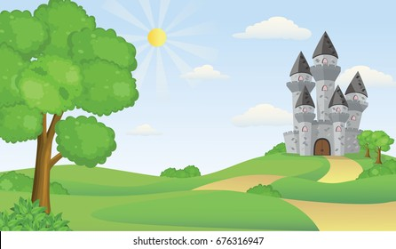 Cartoon Illustration of Tale Castle on Hill Landscape.
