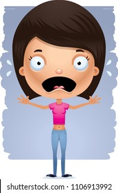A cartoon illustration of a teenage girl looking scared.