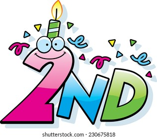 A cartoon illustration of the text 2nd with a birthday candle and confetti.
