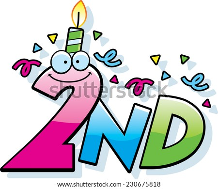 A Cartoon Illustration Of The Text 2nd With Birthday Candle And Confetti