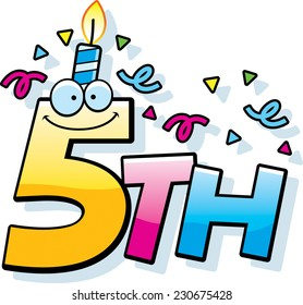 A cartoon illustration of the text 5th with a birthday candle and confetti.