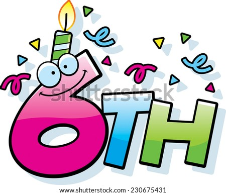 A Cartoon Illustration Of The Text 6th With Birthday Candle And Confetti