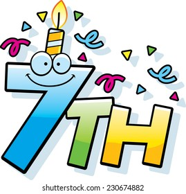 A cartoon illustration of the text 7th with a birthday candle and confetti.