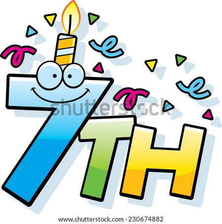 A Cartoon Illustration Of The Text 7th With Birthday Candle And Confetti