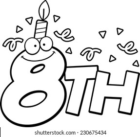 A cartoon illustration of the text 8th with a birthday candle and confetti.