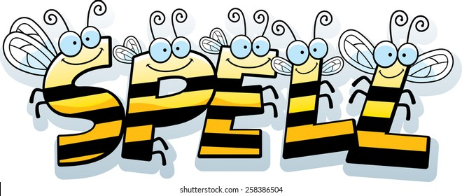 A cartoon illustration of the text Spell with a bee theme.