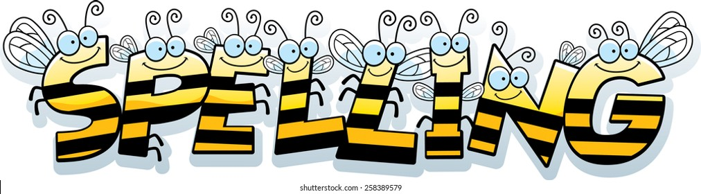 A cartoon illustration of the text Spelling with a bee theme.