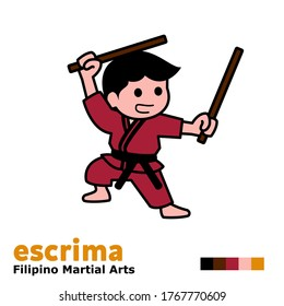 cartoon illustration themed escrima martial or kali or arnis with their two typical short sticks