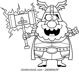 A cartoon illustration of Thor with an idea.