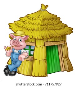 A cartoon illustration from the three little pigs childrens fairy tale, pig character with his straw house.