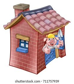 A cartoon illustration from the three little pigs childrens fairy tale, pig character with his brick house.