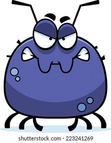 A cartoon illustration of a tick looking angry.