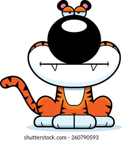 A cartoon illustration of a tiger with a bored expression.