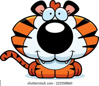 A cartoon illustration of a tiger cub with a happy expression.