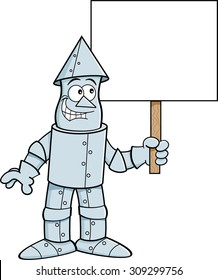 Cartoon illustration of a tin man holding a sign.