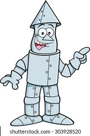 Cartoon illustration of a tin man pointing.