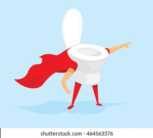 Cartoon illustration of toilet super hero saving the day