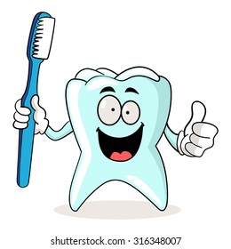 Cartoon illustration of a tooth holding a tooth brush