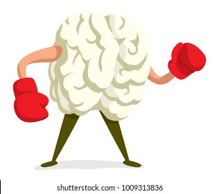 Cartoon illustration of tough brain wearing boxing gloves ready to fight