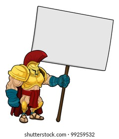 Cartoon illustration of a tough looking Spartan or Trojan soldier holding a sign board
