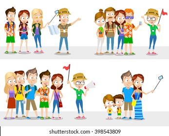 Cartoon illustration of tourists having excursion with guide