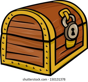 Cartoon Illustration of Treasure Chest Clip Art