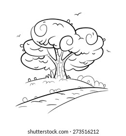 Cartoon illustration of the tree by the road in the sketch style.
