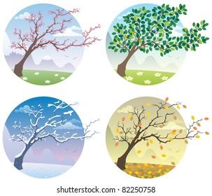 Cartoon illustration of tree during the four seasons.