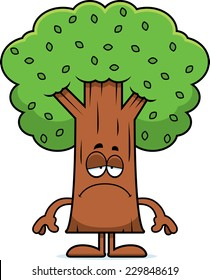 A cartoon illustration of a tree looking sad.