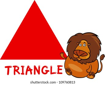 Cartoon Illustration of Triangle Basic Geometric Shape with Funny Lion Character for Children Education