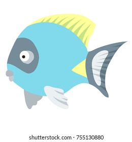 Cartoon illustration of tropical Powder-Blue Surgeonfish