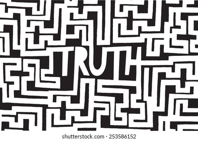 Cartoon illustration of truth word inside a complex maze or labyrinth
