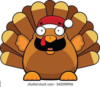 Cartoon illustration of a turkey wearing a Santa hat.