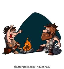 Cartoon illustration of two cavemen talking around the camp fire.