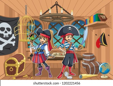 Cartoon illustration of two cute and happy children, boy and girl, smiling while wearing pirate costumes in the cabin of a pirate captain.