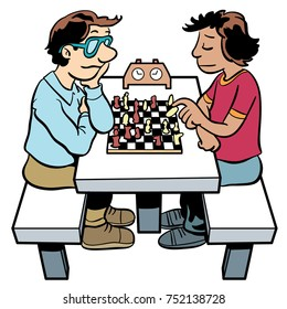 cartoon illustration for two people playing chess