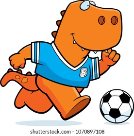 A cartoon illustration of a Tyrannosaurus Rex playing soccer.