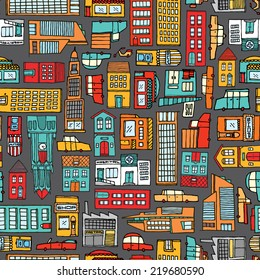 Cartoon illustration urban background or seamless colorful city pattern