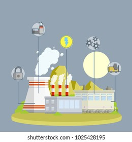 cartoon illustration - urban landscape. factories and plants with Smoking pipes. industrial sector. area of technology and progress. electricity production. thermal power plant.