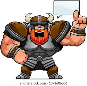 A cartoon illustration of a Viking talking.