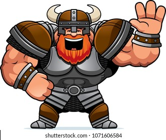 A cartoon illustration of a Viking waving.